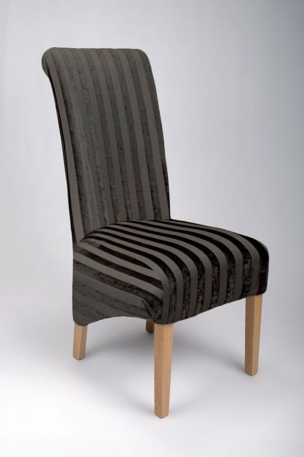 Krista Velvet Stripe Chair Black Simply Stunning Furniture
